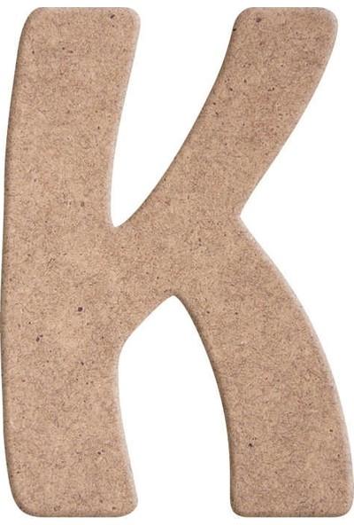 TYMCNC Ahşap BY0271 Boyanabilir Hobi K Harfi 25 cm x 9 mm