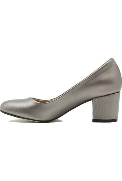 Park Moda 09-100 Park Moda Kadın Topuklu Ayakkabı Platin