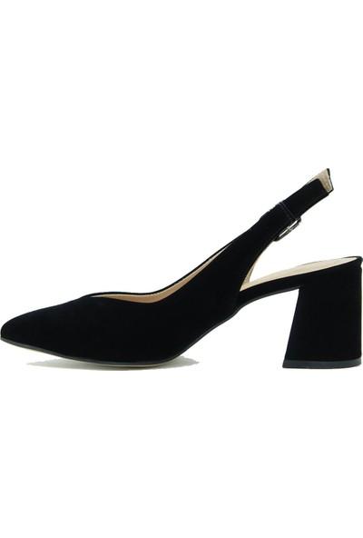 Park Moda Kadın Topuklu Ayakkabı 09-700 Siyah Süet