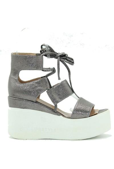 Park Moda Platin Dolgu Topuk Kadın Sandalet 06-254