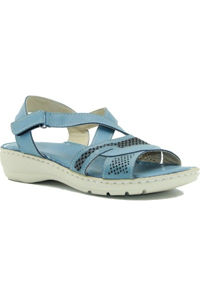 Tuğrul Ayakkabı Mavi Kadın Deri Sandalet 020421
