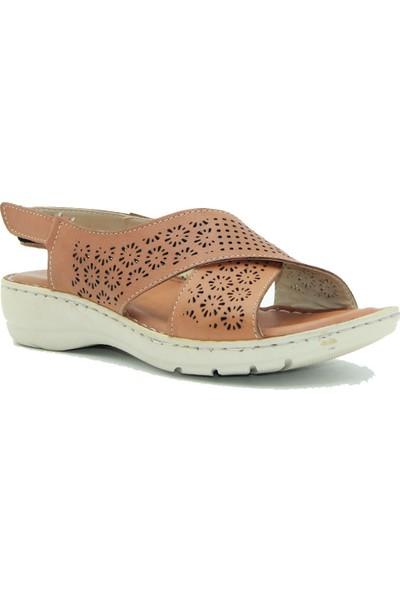 Tuğrul Ayakkabı Taba Kadın Deri Sandalet 020422