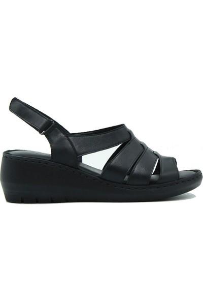 Turgutlar Stella Kadın Deri Günlük Sandalet 20332 Siyah