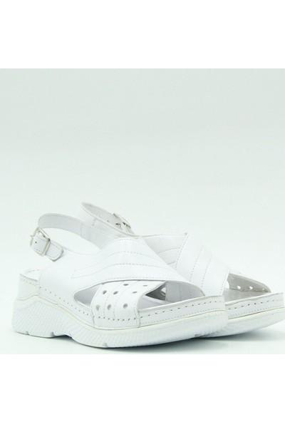 Turgutlar Stella Kadın Deri Kadın Sandalet 20339 Beyaz