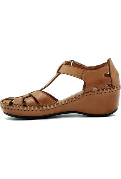 Venüs Hakiki Deri Kadın Sandalet Taba
