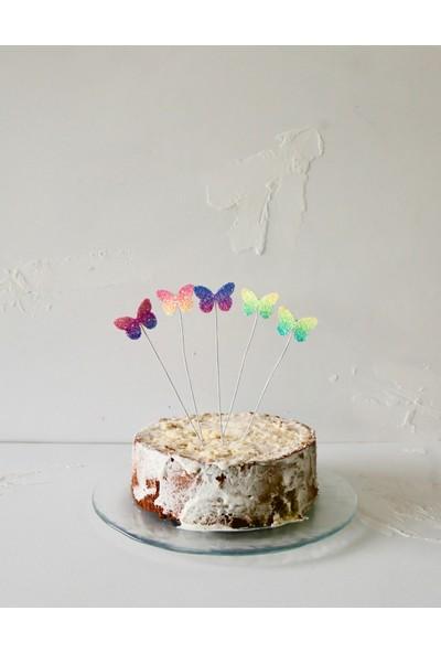 Ohlala Party Beşli Simli Kelebek Şeklinde Pasta Süsü