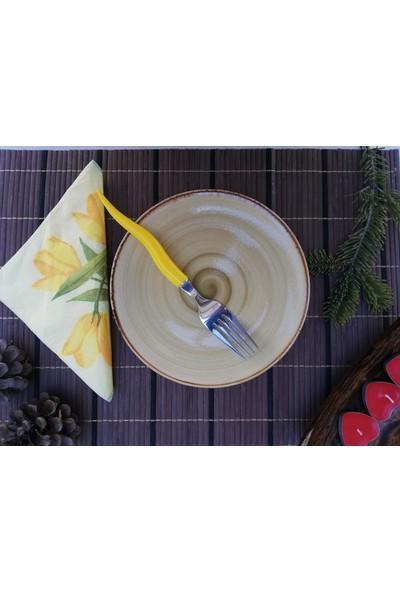 Tulü Porselen El Dekoru Hardal Pasta Tabağı Takımı