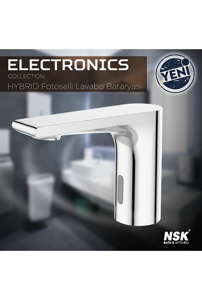 NSK Fotoselli Çift Su Girişli Lavabo Bataryası Krom