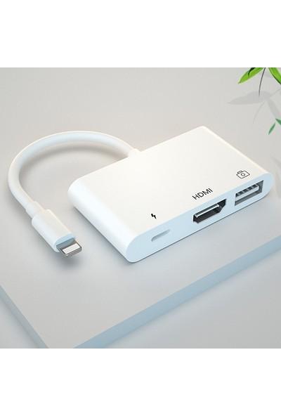 Ally Lightning HDMI Dijital Av Adaptör+ Otg USB Hub AL-31956