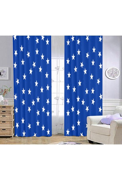 Bebişim Halı Yıldızlı Bİ39 Çocuk Odası Fon Perde 70 x 260 cm