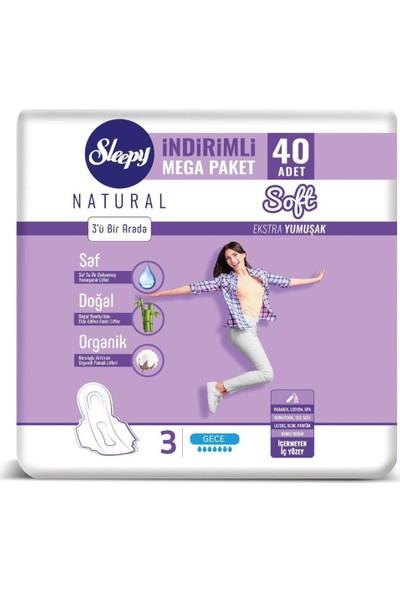 Sleepy Natural Soft Ekstra Yumuşak Gece 40'lı Ped