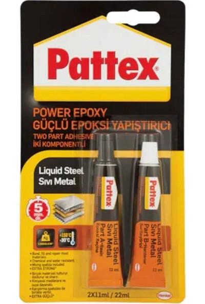 Pattex Yapıştırıcı Power Epoxy Liquid Steel Sıvı Metal 11 ml 2'li