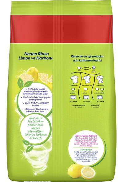 Rinso Limon ve Karbonat Renkliler ve Beyazlar için Toz Çamaşır Deterjanı 8 KG 53 Yıkama