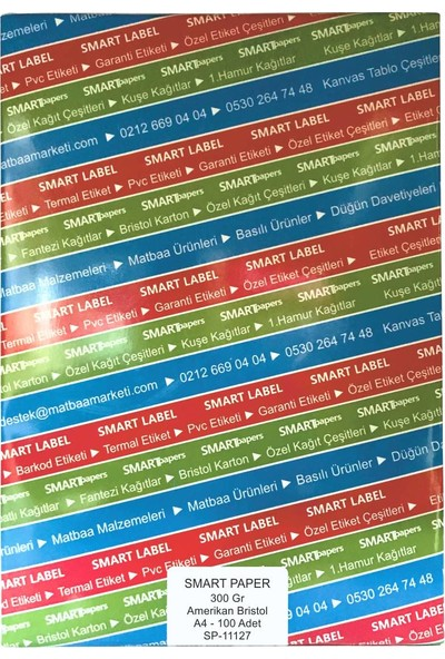 Smart Paper Amerikan Bristol Karton A4 100'lü 300 gr