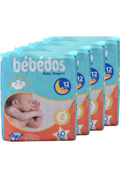 Bebedos 4'lü Ekonomik Paket Bebek Bezi 2 No Mini Boy 240'LI