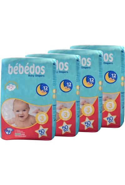 Bebedos 4'lü Ekonomik Paket Bebek Bezi 3 No Midi Boy 200'LÜ