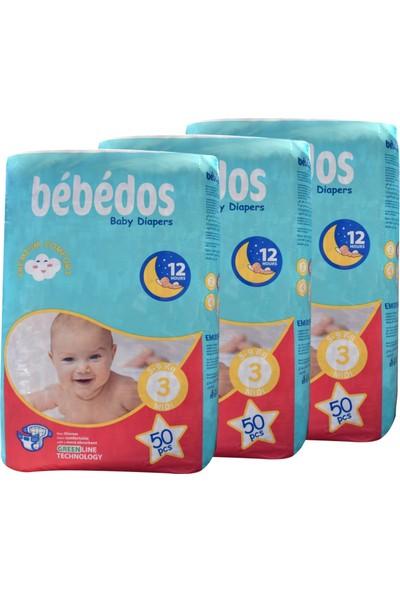 Bebedos 3'lü Ekonomik Paket Bebek Bezi 3 No Midi Boy 150'LI