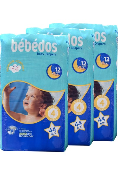 Bebedos 3'lü Ekonomik Paket Bebek Bezi 4 No Maxi Boy 132'LI