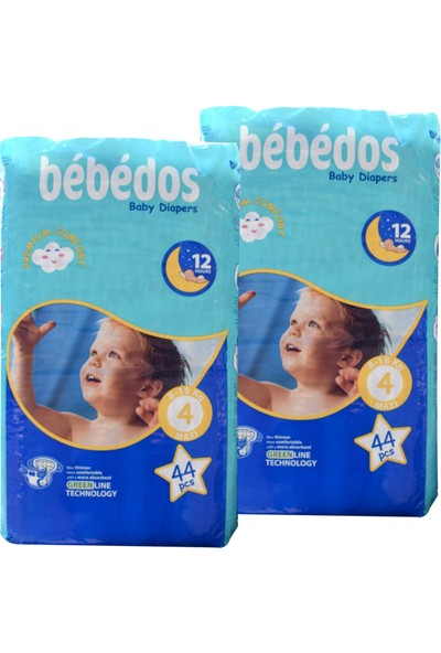 Bebedos 2'li Ekonomik Paket Bebek Bezi 4 No. Maxi Boy 88'li