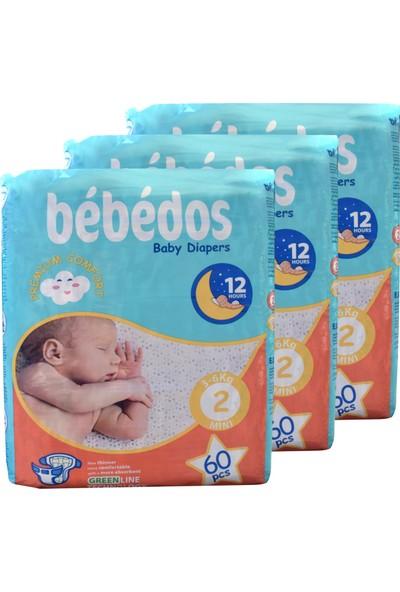 Bebedos 3'lü Ekonomik Paket Bebek Bezi 2 No Mini Boy 180'LI