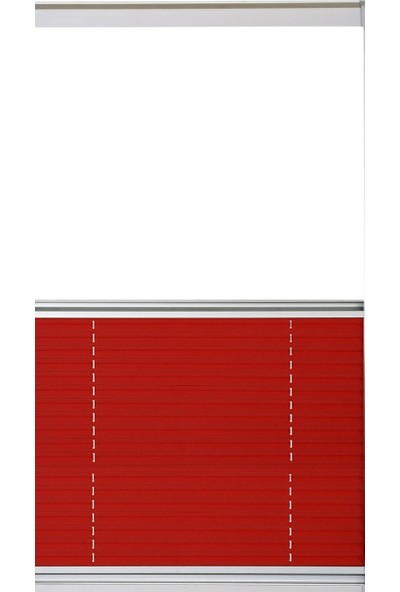 Erikmann Cam Balkon Perdesi Yapıştırmalı Plise Perde 102 gr/m2 Antrasit Profil Kırmızı Kumaş 45 x 175cm