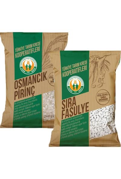 Tarım Kredi Kuru-Pilav Lezzet Paketi 2,5 kg Osmancık Pirinç 2,5 kg Fasulye