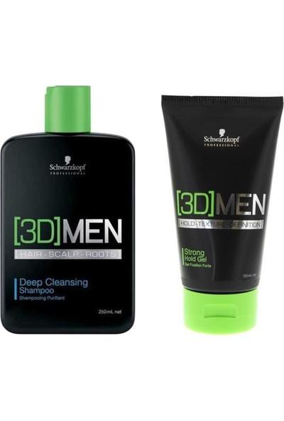 Schwarzkopf 3D Men Deep Cleansing Şampuan 250 ml + 3D Men Güçlü Tutucu Saç Şekillendirici Jöle 150 ml