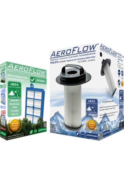 AeroFlow Philips FC 9203 Uyumlu Silindirik Filtre ve Hepa Filtre Seti (AeroFlow Türkiye Garantili)