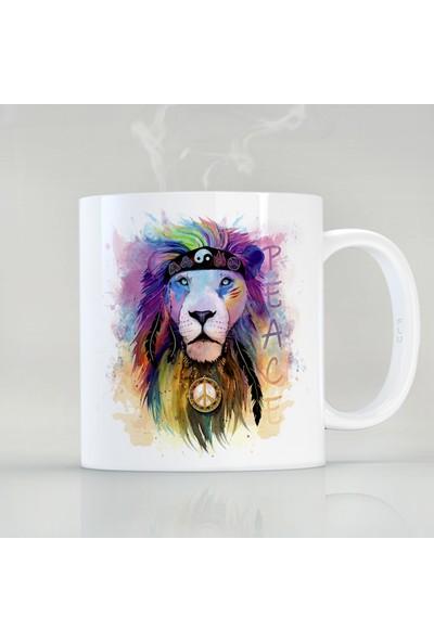 Flustore Lion Peace Aslan Barış Ying Yang Özel Tasarım Kupa Bardak