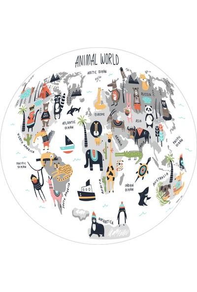 Yoyko Dünya Haritası Yuvarlak Çocuk Odası Halısı