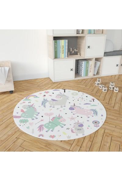 Yoyko Unicorn Yuvarlak Çocuk Odası Halısı