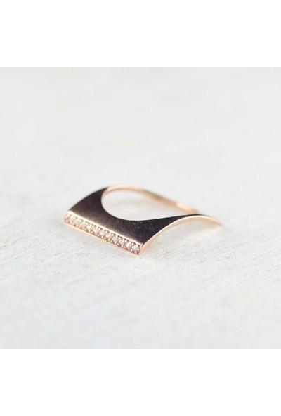 Akik Minimal 925 Ayar Gümüş Altın Kaplama Yüzük