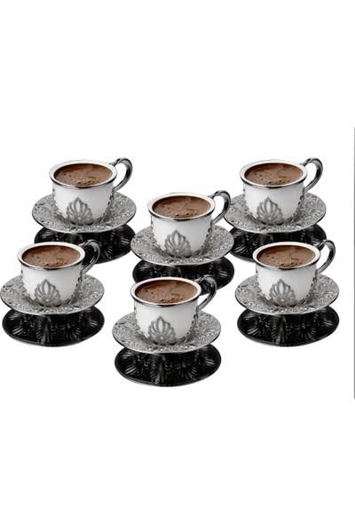 Busem Ahu Tiryaki Parlak Porselen Fincan Türk Kahve Seti 6 Kişilik 18 Parça Gümüş Renkli