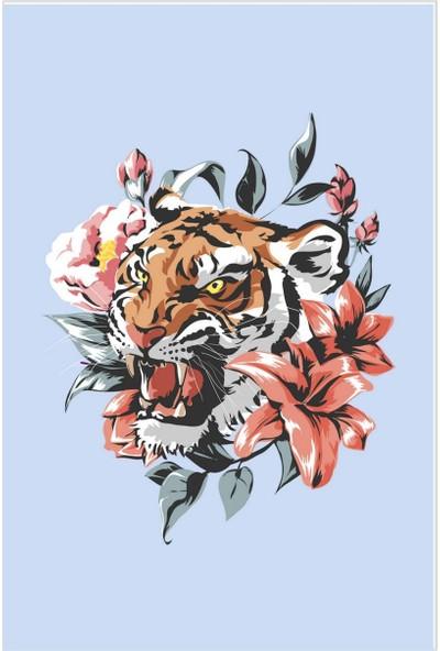 Dekogen Çiçek ve Yaprak Detaylı Mavi Zemin Genç Çocuk Odası Halısı - 80x150