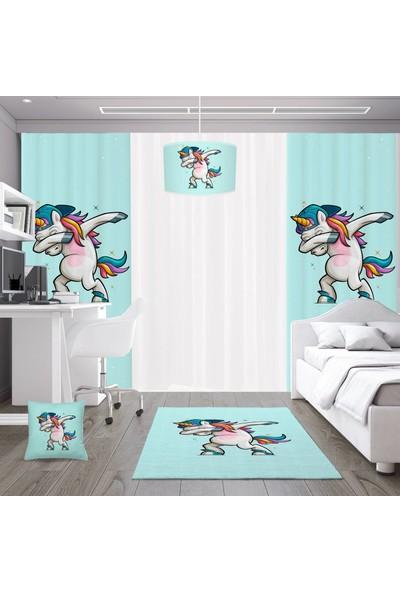 Dekogen Dans Eden Tek Boynuzlu At Mavi Zemin Erkek Çocuk Odası Halısı - 80x150