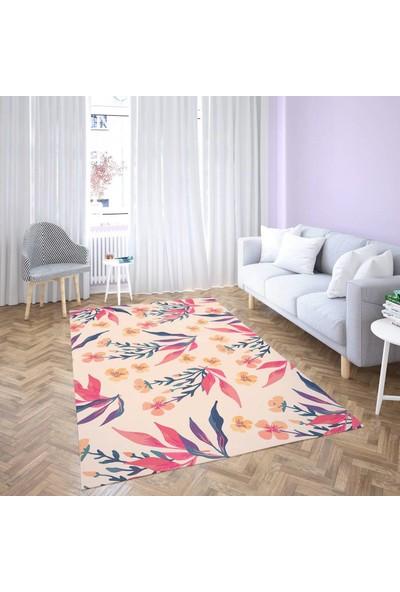 Dekogen Renkli Çiçek Tasarımlı Dekoratif Halısı - 100x150