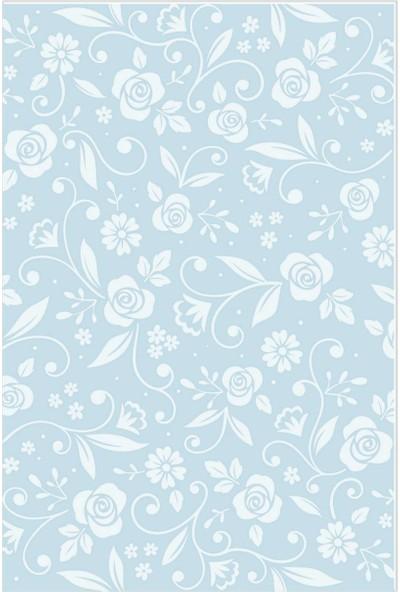 Dekogen Mavi Zemin Beyaz Gül Desenli Dekoratif Halısı - 80x150