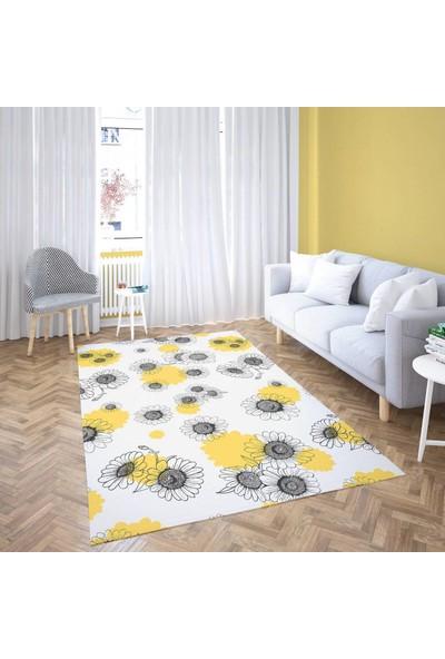 Dekogen Açık Zeminli Modern Sarı Siyah Papatya Ayrıntılı Dekoratif Halısı - 80x150