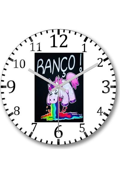 Baskı Dükkanı Unicornio Ranço Duvar Saati Bombeli Gercek Cam