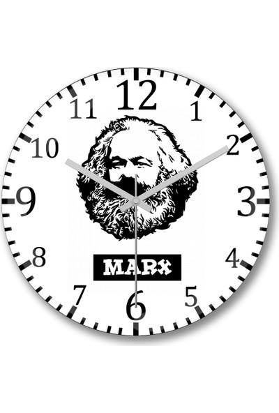 Baskı Dükkanı Karx Marx Duvar Saati Bombeli Gercek Cam
