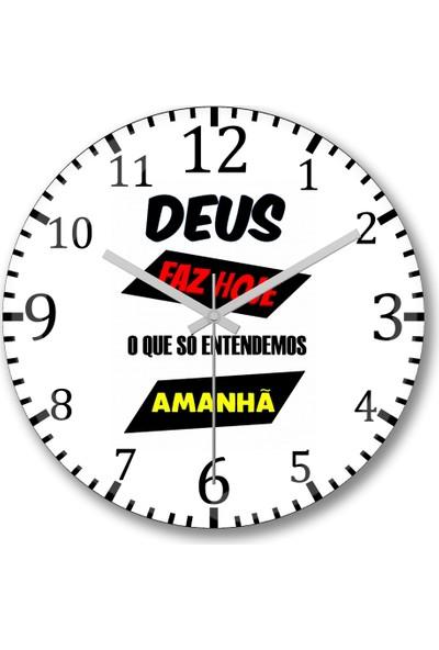 Baskı Dükkanı Frases Deus Duvar Saati Bombeli Gercek Cam
