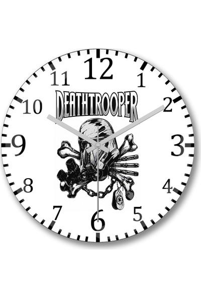 Baskı Dükkanı DeathTrooper Duvar Saati Bombeli Gercek Cam