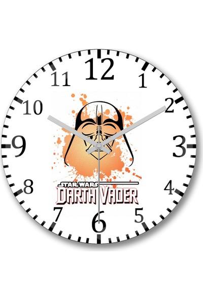 Baskı Dükkanı Darth Vader Duvar Saati Bombeli Gercek Cam