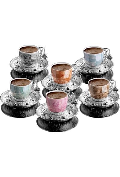 Busem Ahu Tiryaki Porselen Fincan Desenli Mix Türk Kahve Seti 6 Kişilik Gümüş Renk