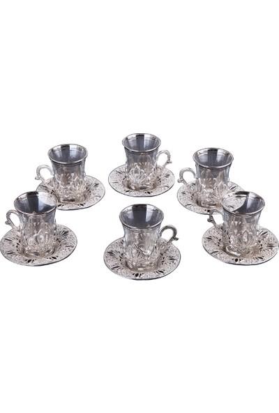 Busem Ahu Çay Takımı Işlemeli 6 Kişilik 18 Parça Gümüş Renkli