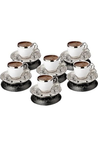 Busem Lal Motifli Porselen Fincan Türk Kahve Seti 6 Kişilik 18 Parça Gümüş Renkli