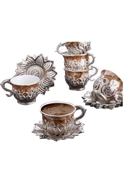 Busem Ahsen Lale Motifli Kahverengi Desenli 6 Kişilik Türk Kahve Seti Gümüş Renkli