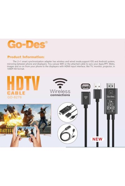 Go Des GD-8276 Wireless Display Dongle Telefon Full Hdtv Aktarım Kablosu