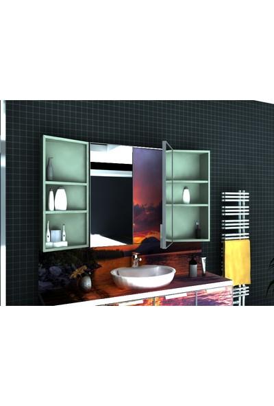 Artila Işıklı Kapaklı Akşam Renkleri Gizli Aynalı Çanak Lavabolu Banyo Dolabı 160 x 200 cm