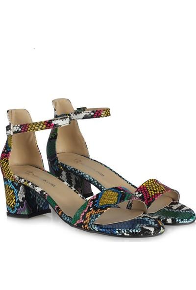 37 Numara Renkli Yılan Topuklu Ayakkabı Sandalet